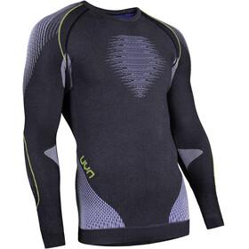 UYN Evolutyon Melange UW LS Shirt Men Anthracite Melange/Blue/Yellow Shiny